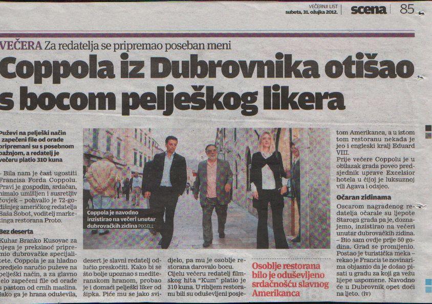 Coppola iz Dubrovnika otišao s bocom pelješkog likera